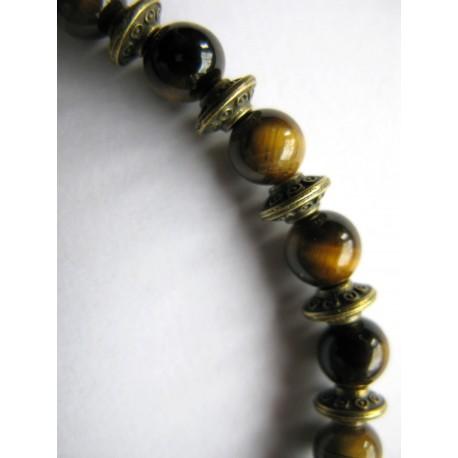 Bracelet en pierres fines (agate dans les tons marron)