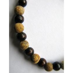 Bracelet en pierres fines (agates mates) et bois