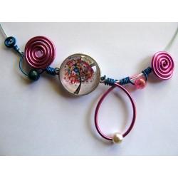 Collier arbre rose et bleu