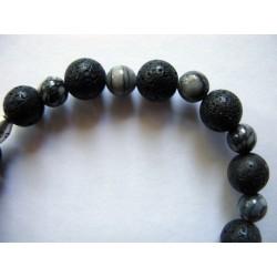 Bracelet en pierres fines (agate grise) et pierre de lave