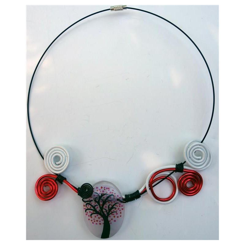 Collier arbre coeur rouge et blanc cr ations de claire - Arbre a collier ...