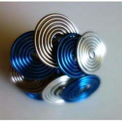 Bague multitorsades bleu marine, gris et argent