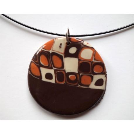 Collier avec pendentif fimo teintes marron